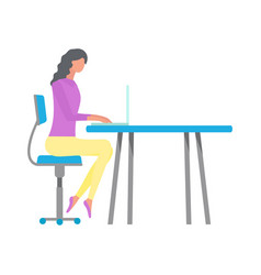 woman using laptop at table workplace vector image