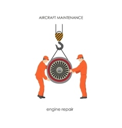 Workers raised the aircraft engine on a lift vector image