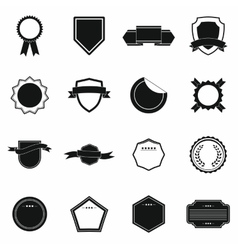 Badges icons set simple style vector image vector image
