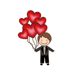 bridegroom with red heart balloons in his hand vector image