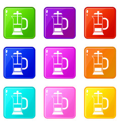 french press coffee maker icons 9 set vector image