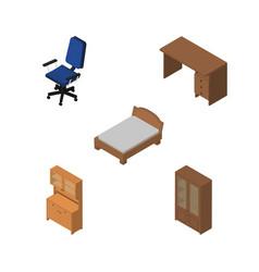 Isometric furnishing set of bedstead table vector