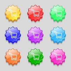 Shopping cart icon sign symbol on nine wavy vector image vector image