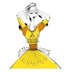 The girl in tribal dress Boho and gypsy style vector image