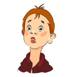 cartoon image of amazed boy vector image
