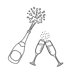 champagne and wineglasses vector image vector image