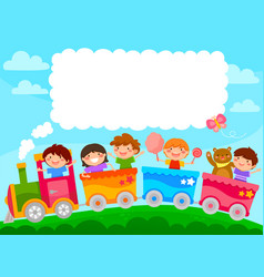 kids in a train vector image vector image