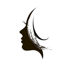 silhouette of womans head vector image