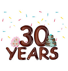 30 years celebrating colored card vector image vector image