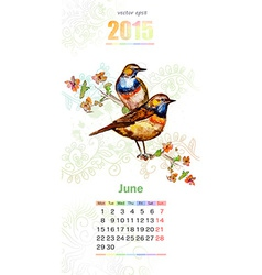 calendar for 2015 june vector image vector image