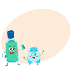 Funny dental floss and mouthwash mouth rinse vector
