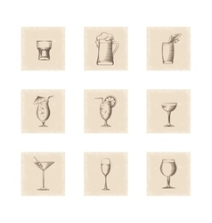 Grunge style drinks icons set vector image vector image