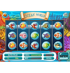 Slot game template with fish characters vector image vector image
