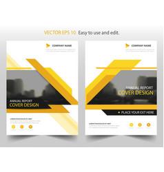 yellow black annual report brochure flyer design vector image vector image