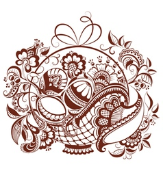 easter design in mehndi style vector image