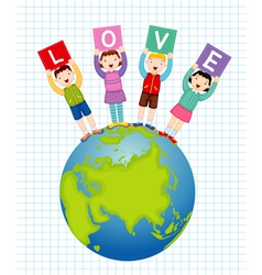 Kids holding text love vector image vector image