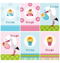 set of cards with baby girl and boy vector image