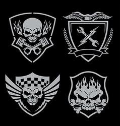 Skull motor crest badge emblem set vector