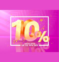 10 off discount creative composition 3d golden vector