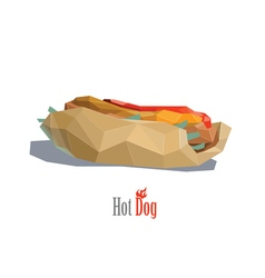 a hot dog polygonal object fast food vector image