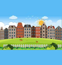an outdoor scene with amsterdam house vector image