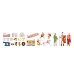 ancient rome empire symbols and characters set vector image