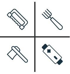Apparatus icons set collection of carpentry vector