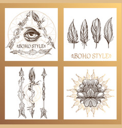 Arrows flowers and feathers a set of cards in the vector