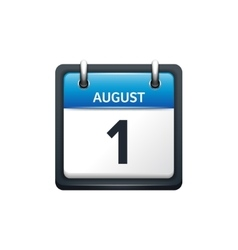 August 1 Calendar icon flat vector image