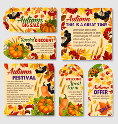 autumn season sale tag and promotion label set vector image