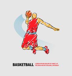 Basketball slam dunk player vector