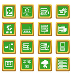 Big data icons set green vector