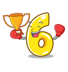 boxing winner number six isolated on the mascot vector image