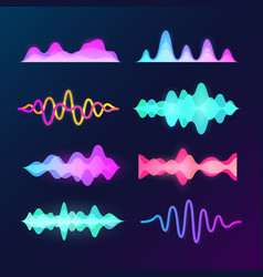 Bright color sound voice waves isolated on dark vector