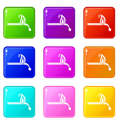 Burning match icons 9 set vector
