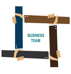 business team human hands holding each other vector image