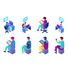 businessman and call center operator isometric 3d vector image