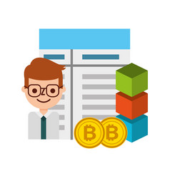 businessman cartoon bitocin blockchain fintech vector image