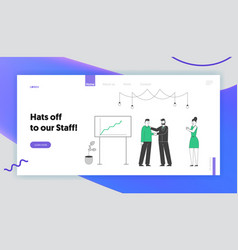 businesspeople celebrate project success website vector image