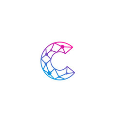 c letter network logo icon design vector image