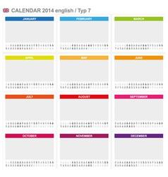 Calendar 2014 English Type 7 vector image