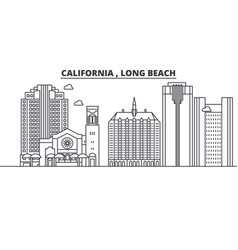 California long beach architecture line skylin vector