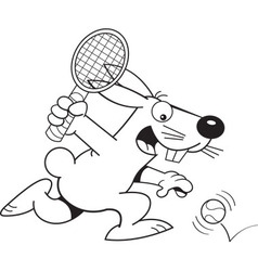 Cartoon rabbit playing tennis vector image