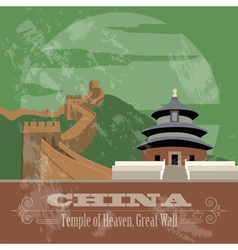 China landmarks Retro styled image vector