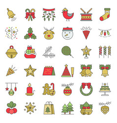 christmas ornaments icon set flat design editable vector image
