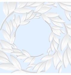 Circular frame of white paper branches and leaves vector