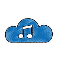 cloud with music note isolated icon vector image