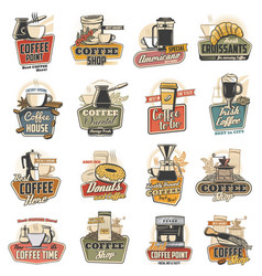 coffee cup mug espresso machine and bean icons vector image