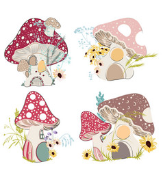 Collection of cute mushroom houses vector