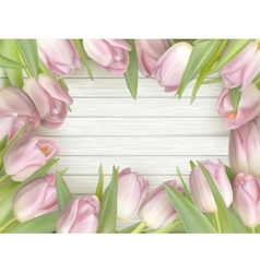 Color tulips on wooden background EPS 10 vector image